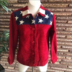 Coldwater Creek Patriotic Flag Jacket